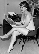 Nude Mature Pinup 1950s sitting at typewriter wearing cats eye 8 x 10 Photograph