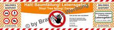 3 Absperrbanner f. Forst, Holzrücker, Baumfällung, Waldarbeiten gem.WaldG (BW)