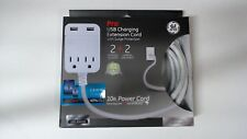 GE Pro USB Charging Extension Cord With Surge Protection 10 Foot White
