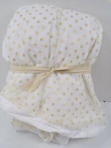 Pottery Barn Emily Meritt Tulle Tutu Bedskirt Polka Dot Gold Queen #9391