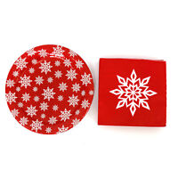 "9"" Christmas Paper Plates and Napkins Set Snowflakes Decorative Party Serves 18"