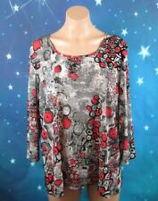 TS SIZE LARGE WOMANS, GRAY RED BLACK CIRCLES BLOUSE