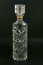 Mid-Century Glass Liquor Decanter Daisy and Diamond Round Barware Bottle