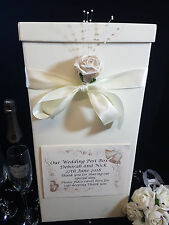Wedding Card Post Box Ivory Pearlised White (Gold) Personalised Rose Flower Gift