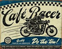 PLAQUE METAL vintage USA moto CAFE RACER - 40 x 30 cm