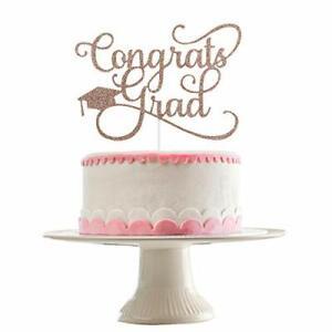 Graduation Cake Topper- Congrats Grad Cake Topper Rose Gold GlitterCongrats G...