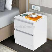 2 Drawers Nightstand Bedside End Table Living Bedroom Side Storage Modern White