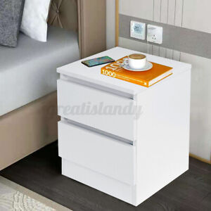 2 Drawers Nightstand Bedside End Table Living Bedroom Side Storage Modern White