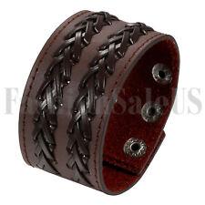 Men's Women's Biker Punk Braided Leather Belt Bracelet Cuff Wristband Adjustable