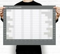 Grey A2 2021 Year Wall Planner ~ Yearly Annual Calendar Chart A2 Size Large