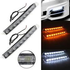 2x Car 9 LED Daytime Running Driving White DRL Turn Signal Light Amber Yellow