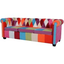 #vidaxl 3 Seater Chesterfield Fabric Sofa Bed Couch Chaise Lounge Tufted Buttone