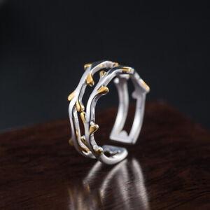 I04 Ring Zweig mit goldenen Blättern Silber 925 Gr. 17 - 18 größenverstellbar