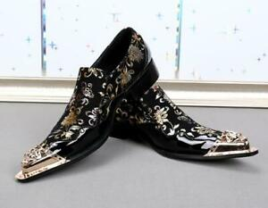 British Men's Leather Shoes Pumps Slip on Printing Floral Pointy Toe Business Sz