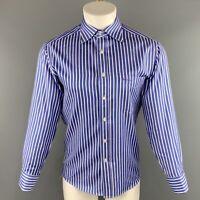 PAUL SMITH Size L Blue & White Stripe Cotton Button Up Long Sleeve Shirt