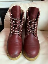 "Timberland Men's Boots Size 7.5 Premium 6"" Inch Waterproof Burgundy Leather"
