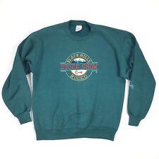 Vintage Black Hills Rodeo Sweatshirt Medium USA Made Green Cowboy Bull Bucking Z
