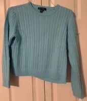 Women's Ralph Lauren Sweater Cable Knit BLUE 100% Cotton Sz L