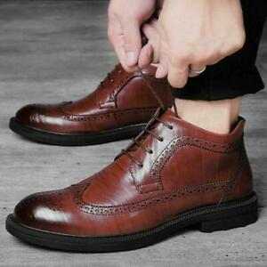 Vintage Mens British Brogue Wing Tip tactical Lace Up Casual Ankle Boots Shoes