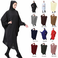Muslim Prayer Jilbab Abaya Islamic Loose Batwing Sleeve Pullover Dress Hijab Set