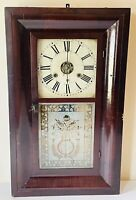 Antique New England Clock Co Weight Driven Pendulum Gong Chime Mantle Wall Clock