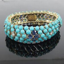 Vintage 1.10ct Diamond 5.0ct Sapphire & Turquoise 14K Yellow Gold Dome Bracelet