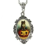 Owl Pumpkin Halloween Costume Jewelry Pin-up Retro Vintage Style Cameo Necklace