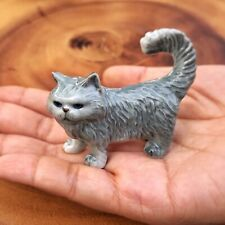 Gray Persian Cat Ceramic Figurine Cat Ceramic Collection Doll Cat Pottery