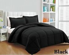 Full Size All Season Down Alternative Comforter Egyptian Cotton Black Solid
