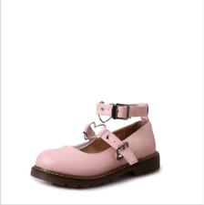 Women's Heart Shape Buckle Strap Flats Metallic Lolita Cosplay Shoes Size UK