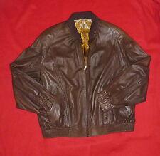 15K ZILLI Napoleon ELY France Brown Leather Silk Bomber Jacket Coat 56 46 X XL