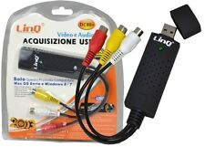 SCHEDA DI ACQUISIZIONE ADATATTORE VIDEO AUDIO CAPTURE USB 2.0 LINQ DC80+ mshop
