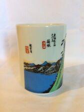Japanese Yunomi tea cup sea and mountain range 8 oz