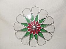 STAINED GLASS SUNCATCHER, STAR, CRACKLED & STAINED, WINTER