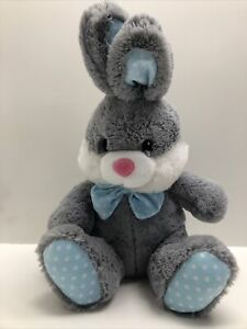 """Dan Dee Bunny Gray with Blue Bowtie Polka Dots 20"""" Soft Plush with Fur"""