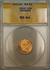 1900 Denmark 10K Kroner Gold Coin ANACS MS-64