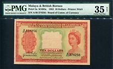 Malaya & British Borneo 1953, $10 , P3,PMG 35 NET VF