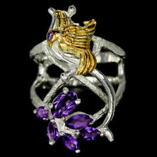 NATURAL PURPLE AMETHYST MIXED SHAPE & CZ STERLING 925 SILVER 2-TONE BIRD RING 7