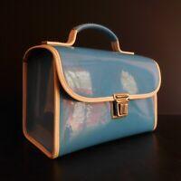 Valise sacoche femme homme bleu blanc vintage 1950 Italie design XXe N4383