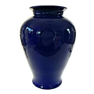 """Vtg Ceramic Flower Vase High Gloss Cobalt Blue Glaze Urn Shape Large Bouquet 12"""""""