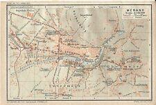 Carta geografica antica MERANO MERAN Pianta città Bolzano 1920 Old antique map