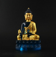 13.5CM Tibet Buddhism Resin Golden Paint Sit Lotus Menla Medicine Buddha Statue