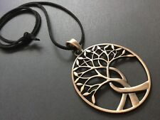 Black Long Suede necklace with a Large statement  Copper Tree Of Life pendant