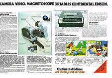 PUBLICITE   1978    CONTINENTAL EDISON   magnétoscope caméra portables (2 pages)