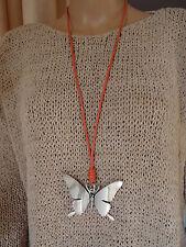 Fashion Jewelry Kette Lederband Schmetterling rot silber nickelfrei