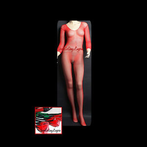 LONG SLEEVE Fishnet BODYSTOCKING Crotchless SEAMLESS Scoop Neck BLACK RED WHITE