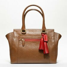 NWT Coach Legacy Textured Leather Medium Candace Carryall Brown/Carnelian 19926