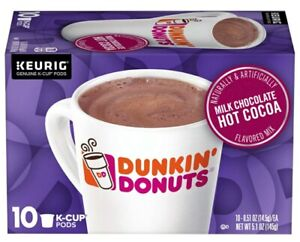 Dunkin' Donuts Milk Chocolate Hot Cocoa 10-K Cup Keurig Pods Box