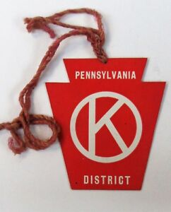 40's PENNSYLVANIA DISTRICT CIRCLE K KIWANIS CLUB big figural keystone hang tag +