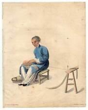 China-Chinesen-Baumwolle-Wolle-Textilien Kupferstich Dadley 1800 Ethnologie